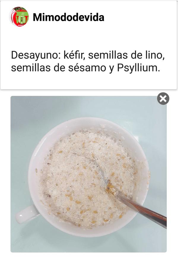 Así es cómo tomo yo el Psyllium.Lo acompaño con Kefir y semillas de lino y semillas de sésamo.Está muy bueno y me ayuda a regular mi intestino.