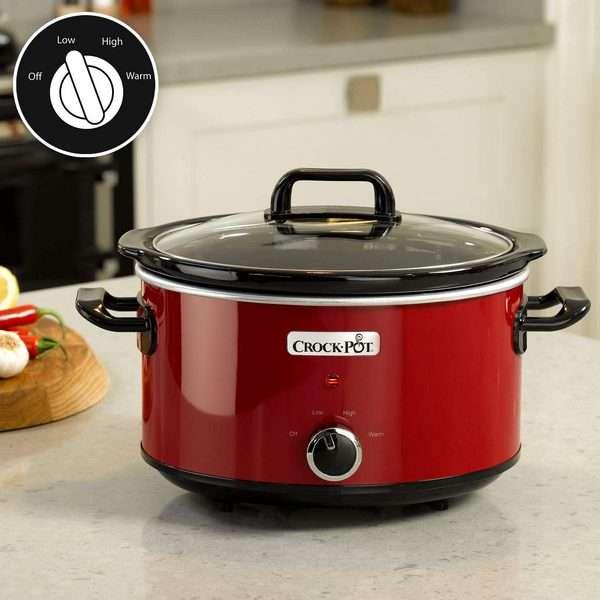 Crock Pot SCV400RD Olla de coccion Lenta Manual para Preparar Multitud de Recetas 210 W 3.5 litros Acero Inoxidable Rojo min - Productos