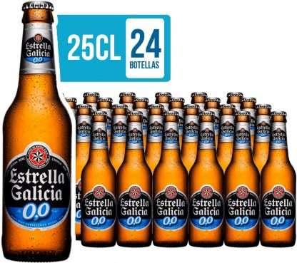 Botellines de cerveza estrella Galicia sin alcohol