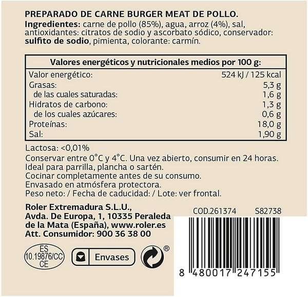 SELECCIÓN DE DIA hamburguesas de pollo bandeja 6 uds 540 gr